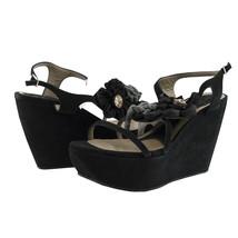 Marni Runway Black Suede Zeppa Wedge Sandals Limited Edition Platform 9 $1150 - $261.86