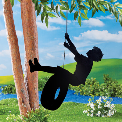 Boy Riding Tire Swing Metal Hanging Shadow Silhouette Outdoor Tree Decoration