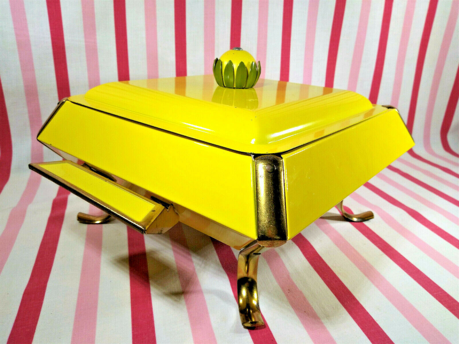 Primary image for Mid Century Modern Yellow Flower Handle Lid Pedestal Casserole Caddy + Warmer