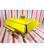 Mid Century Modern Yellow Flower Handle Lid Pedestal Casserole Caddy + W... - $38.00