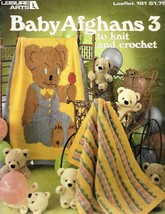Leisure Arts 161 Baby Afghans 3 to Knit & Crochet Vintage 1980 Leaflet P... - $9.89