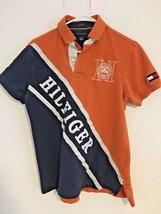 Tommy Hilfiger Spell-out Vtg. Orange Rugby Short Sleeve Men's Sz S Custom Fit  - $47.03