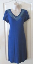 Design History S/S Embroidered V-neck Dress Blue Women's Sz S-L NWT MSRP$58 - $25.48