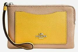 Coach Crossgrain Leather Corner Zip Wristlet Tan Beige Yellow New - $30.00