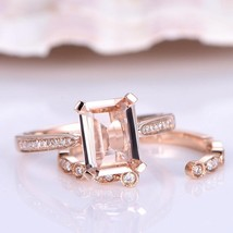 1.50Ct Emerdal Cut Peach Morganite Bridal Engagement Ring SEt 14k Rose Gold Fini - $99.99