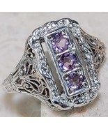 VINTAGE STERLING SILVER .925 PURPLE AMETHYST TRIPLE STONE RING SIZE 6 ESTATE  - $21.83