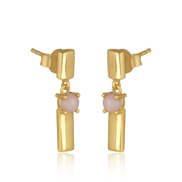 Pink Opal Gemstone 925 Silver Gold Plated Bar Design Drop Earrings Jewelry