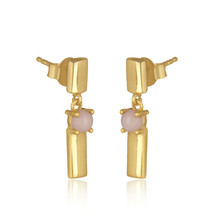 Pink Opal Gemstone 925 Silver Gold Plated Bar Design Drop Earrings Jewelry image 2