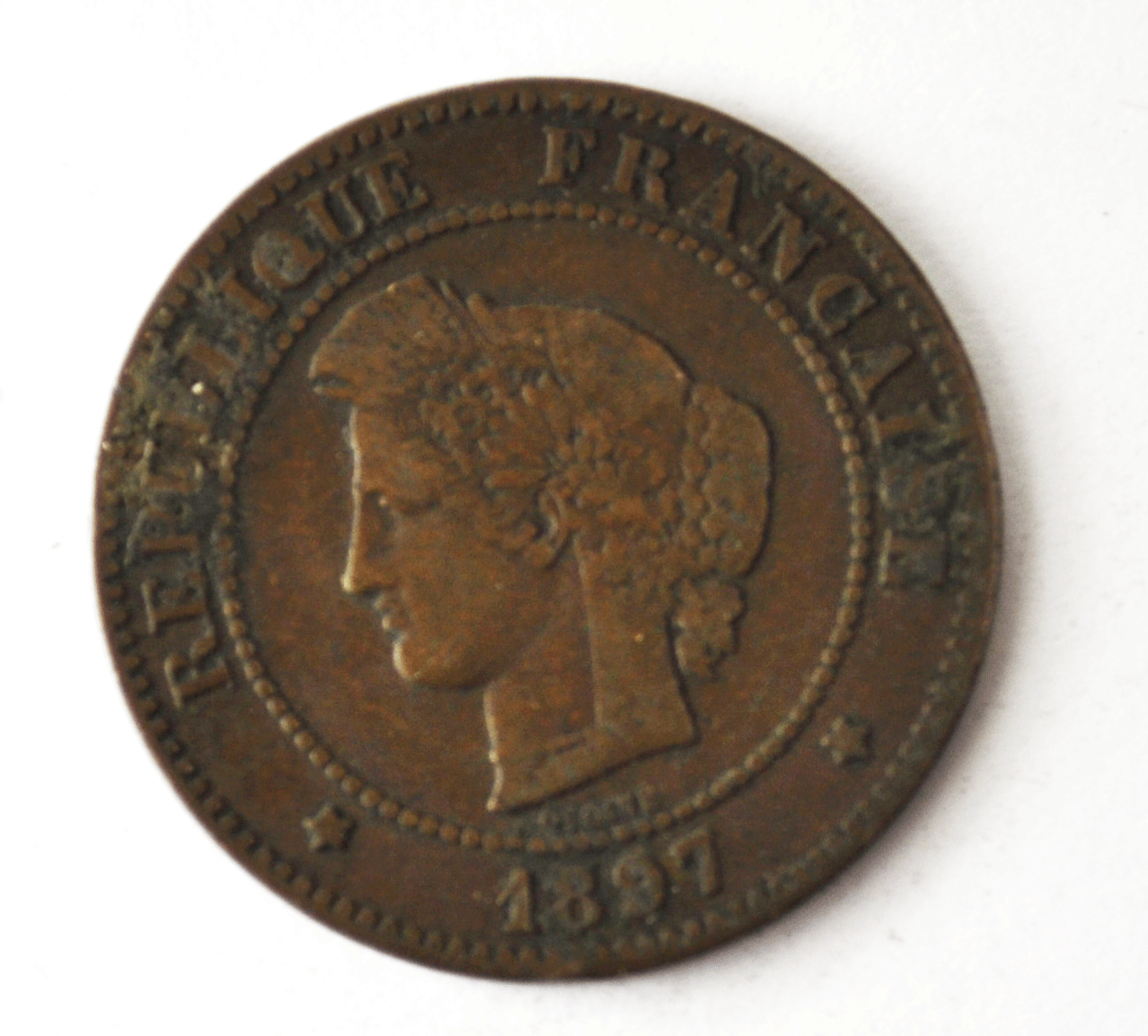 1897 A France 5 Five Centimes KM# 821.1 Bronze Coin