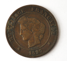 1897 A France 5 Five Centimes KM# 821.1 Bronze Coin  image 1