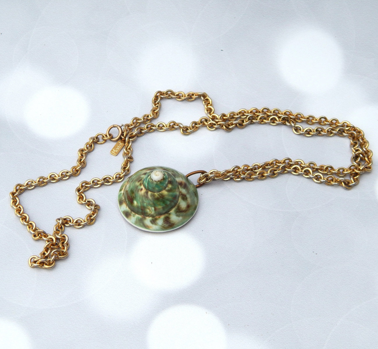 Primary image for MONET Shell Pendant Chain Necklace, Rustic Boho Beach Jewelry Necklace Seashell