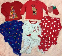 LOT OF 5 Girls Christmas Fleece Sleepers Romper Pajamas & T-Shirts 12-18... - $38.61