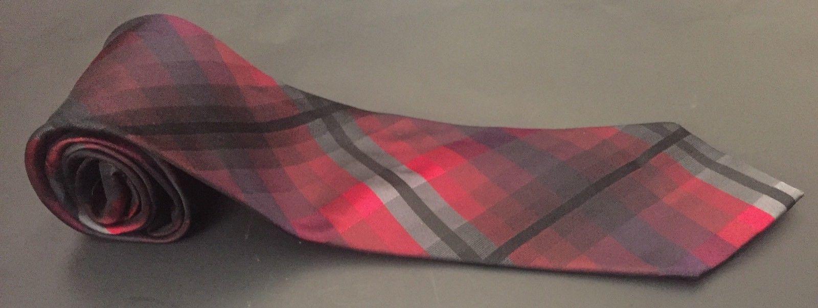 Kenneth Cole Reaction Tie Red Black Gray Cubed Plaid Preppy Necktie Neckwear