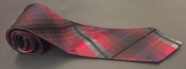 Kenneth Cole Reaction Tie Red Black Gray Cubed Plaid Preppy Necktie Neck... - $8.90