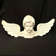Vintage Angel Cherub Head With Carved Wings 21 Inches 1992 - $255.42