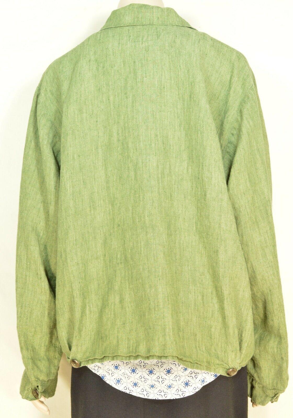 FLAX Engelhart Jacket SZ M green zipper pockets loose 100% linen