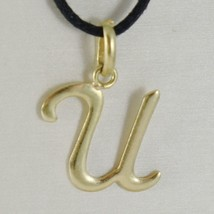18K YELLOW GOLD PENDANT CHARM INITIAL LETTER U, MADE IN ITALY 0.85 INCHES, 21 MM image 1