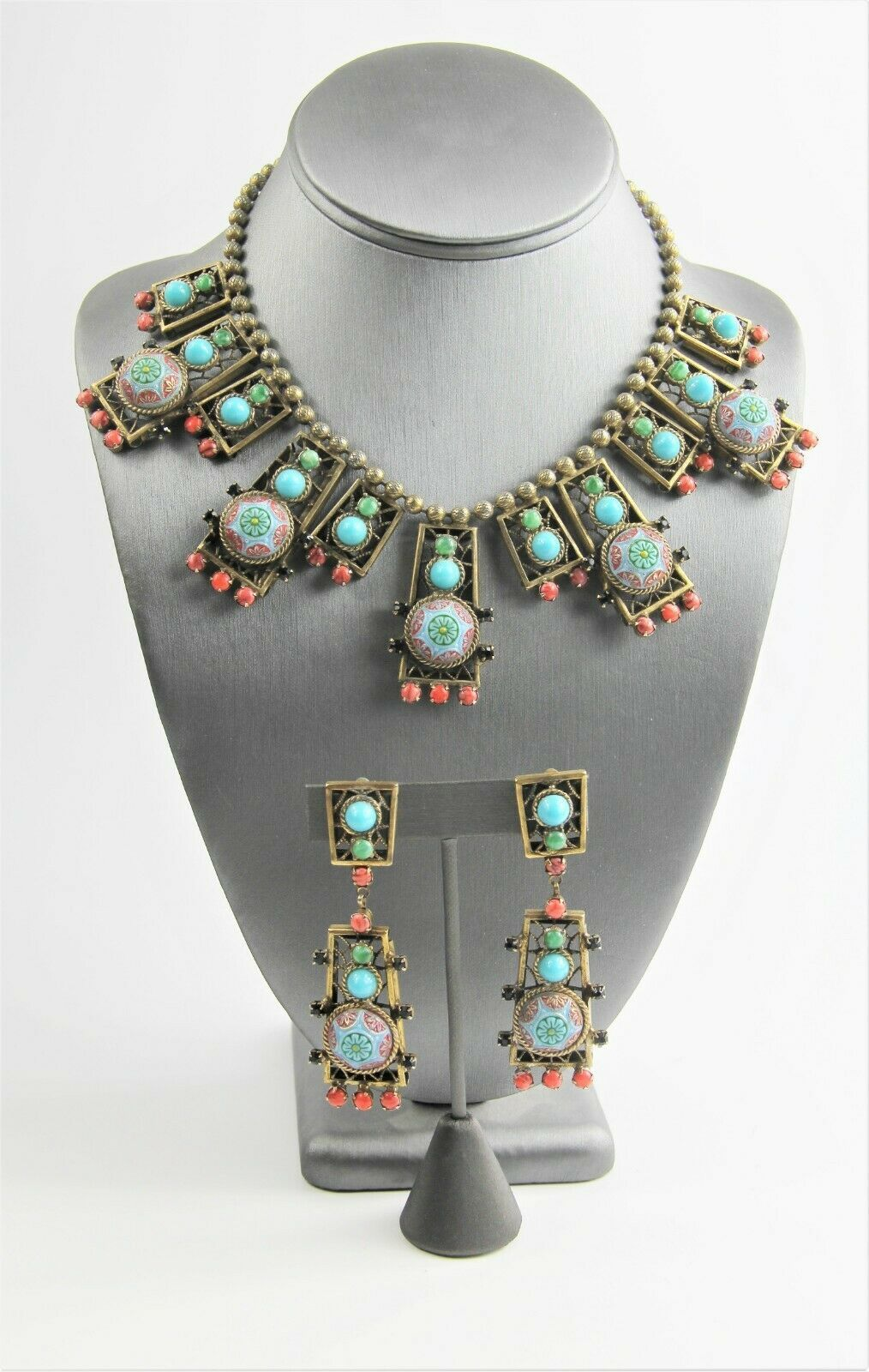 D&E JULIANA DELIZZA ELSTER BLUE MOROCCAN MATRIX NECKLACE & DANGLE EARRINGS SET