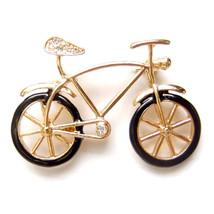Brooch Bike Vintage Bicycle Gold Black Sports Unisex Men Male Suit Lovely Pin - $8.99