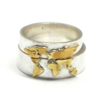 Gold Over Silver World Map Ring image 2