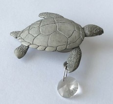 Vintage Silver Tone Turtle with Clear Glass Stone Refrigerator Travel So... - $12.86