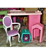 Barbie Desk & Chair with pet accessories - $10.00