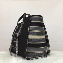 NEW AUTHENTIC CHANEL 2019 BLACK CANVAS STRIPE LARGE DEAUVILLE 2 WAY TOTE BAG  image 4