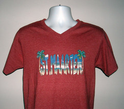 St Maarten V Neck T Shirt Mens Small Palm Trees Flip Flops Red - $21.73