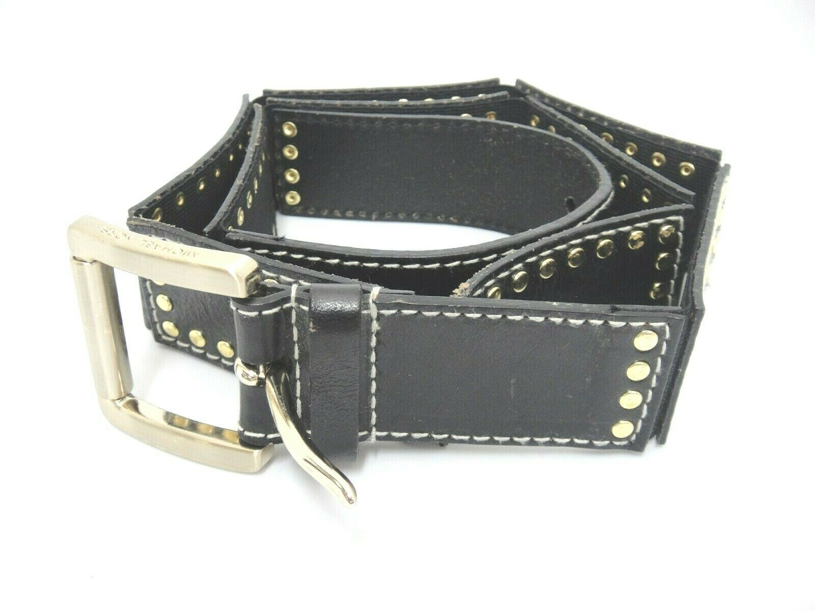 "Primary image for Michael Kors Womens Black Leather in 3"" Sections Grommets Gold Buckle 33""-37"" Lg"