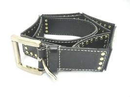 "Michael Kors Womens Black Leather in 3"" Sections Grommets Gold Buckle 33... - $24.74"