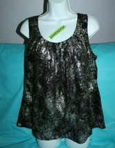 Michael By Michael Kors Silver And Black Sleeveless  Top Size Women's P Large - $24.74