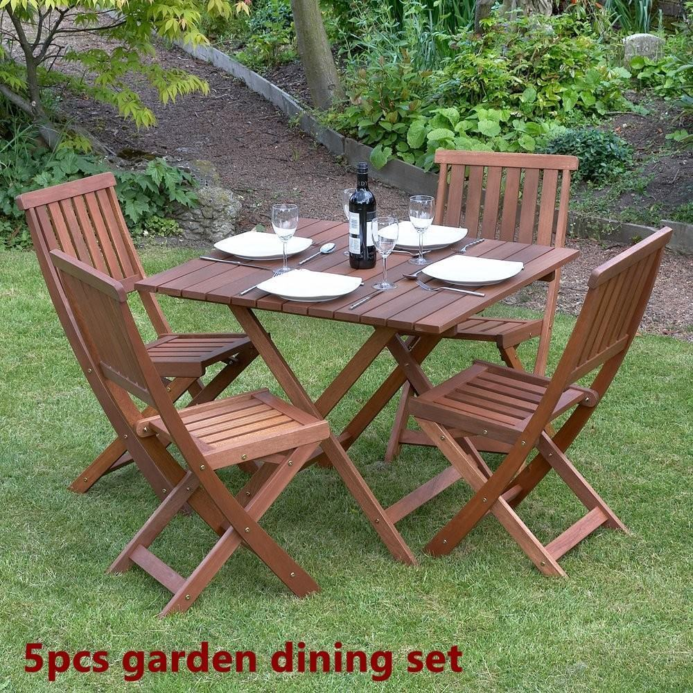 Wood Garden Dine Set Foldable Patio BackYard Durable Furniture Table 4 Chair New