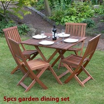 Wood Garden Dine Set Foldable Patio BackYard Durable Furniture Table 4 C... - $283.37