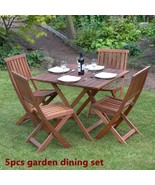 Wood Garden Dine Set Foldable Patio BackYard Durable Furniture Table 4 C... - $283.37