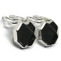 18K WHITE GOLD BUTTON COVERS, FACETED OCTAGON, MADE IN ITALY image 5