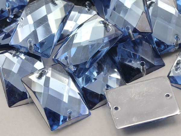 18x13mm Blue Sapphire Lt.CH02 Rectangular Flat Back Sew On Gems For Craft 45 PCS
