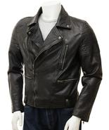 QASTAN Men's New Rugged Black Biker / Racing / Moto Sheep Leather Jacket... - $169.00