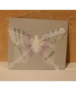 """NIP LOT 2 VINTAGE CRAFT BUTTERFLY Painted FEATHER WINGS 5X5"""" WHIT/BLUE/L... - $9.85"""