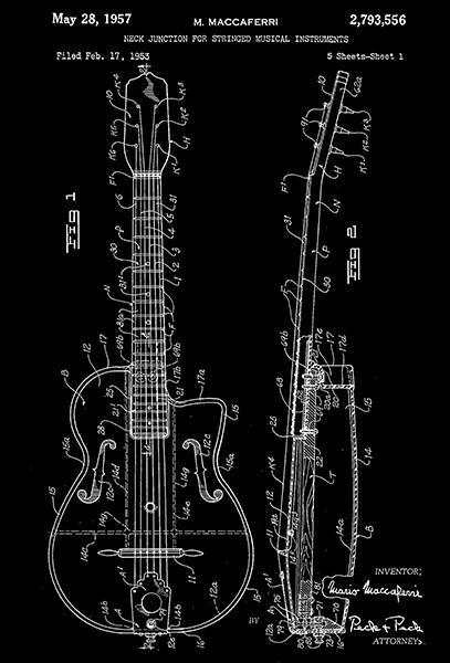 Primary image for 1957 - Neck Junction for Musical Instruments - Guitar - Patent Art Poster