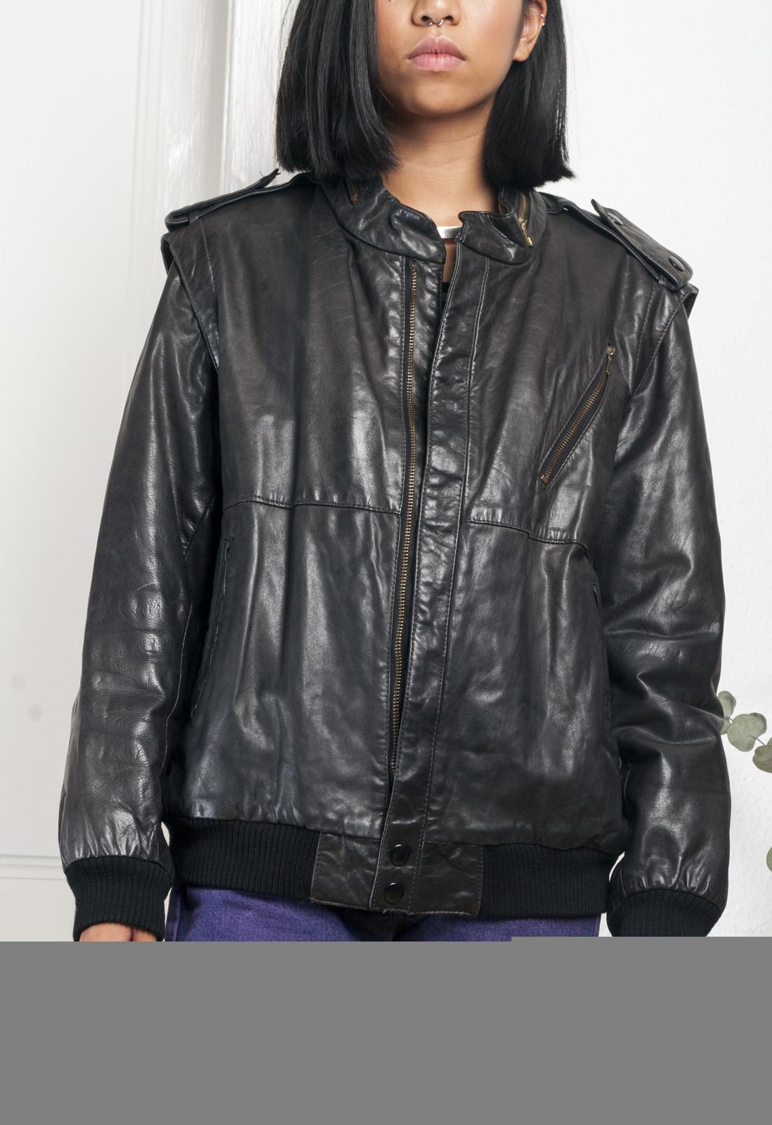 80s vintage leather bomber jacket