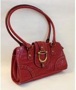 Brick Red Faux Crocodile Purse Satchel Handbag Tote Bag Metal Accents Lined - $35.00