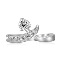 Womens Sterling Silver Rhodium Plated Crossover Cubic Zirconia Accented Toe Ring - $23.76