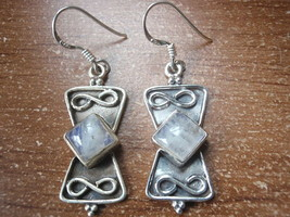 Blue Moonstone Sterling Silver Earrings with Infinity Signs c84a - $8.90