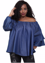 Kwanzaa Top L XL 1X 2X Plus Denim On /Off Shoulder Africa Wax Print NWT ... - $15.82