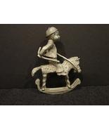 Pewter Figure Boy Riding Rocking Horse John Sullivan 1975 Siigned  - $7.00