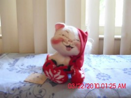 Excellent Used Annalee Doll White Christmas Cat - 1990 - $9.79