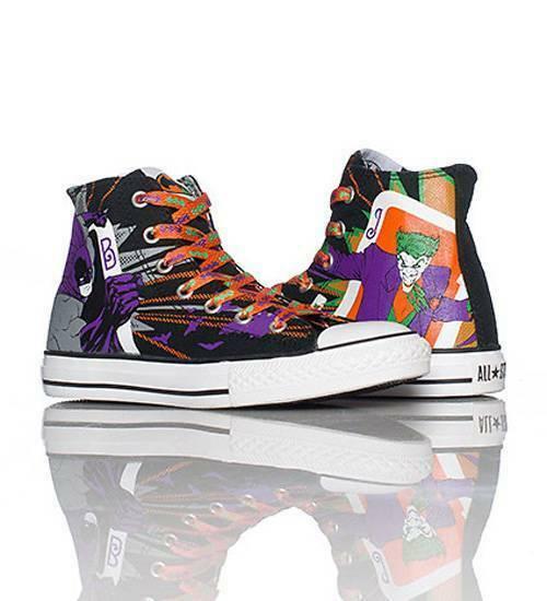 Converse BATMAN & JOKER HI TOP Shoes 3 Sets Laces Wild Lining NIB DISC MNS 9 HTF - $79.99
