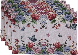 "Set of 4, Printed Decorative Floral Design Tapestry Placemats Size : 13"" x 19"". - $11.85"