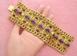 ANTIQUE VICTORIAN AMETHYST CITRINE 152gr 18K HEAVY CUFF STATEMENT BRACEL... - $17,325.00