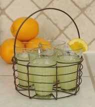 Rustic Rooting Party Decorative Round Wire Caddy with Four 6 ounce Glasses - $21.99